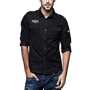 Camisas sólido Color Manga Larga Hombre, Blusas Algodón con ...