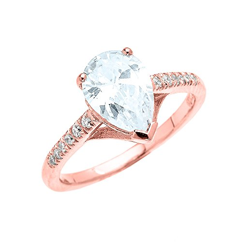Dainty 10k Rose Gold Pear Shape Aquamarine and Diamond Solitaire Engagement Proposal Ring (Size 7.5)