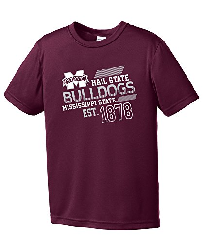 NCAA Mississippi State Bulldogs Youth Boys Offsides Short sleeve Polyester Competitor T-Shirt, Youth Large,Maroon