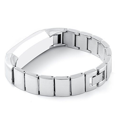 GHIJKL Compatible Fitbit Alta Replacement Metal Bands Strong Attach and Secure Closing Wristbands ()