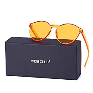 WISH CLUB Cat Eye Rimless Sunglasses for Women Oversized Lightweight Transparent Glasses Candy Color Eyewear (Yellow)