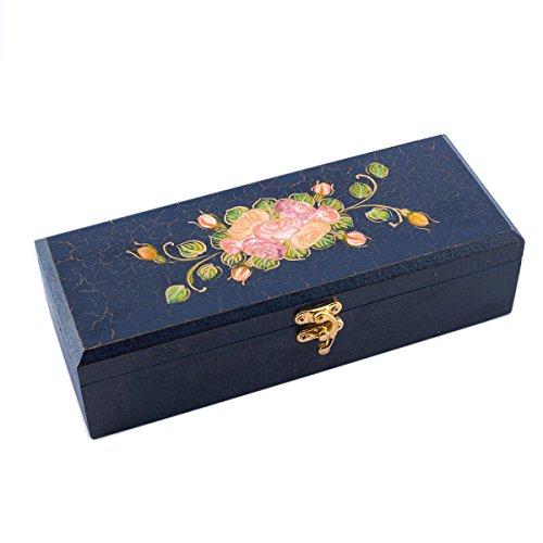 THAILANDMALL Thai Jewelry Box with Blue Rose Pattern Large Mirror & 2 Trays for Women Teens and Girls by THAILANDMALL