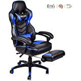 Video Gaming Chair Racing Office - PU Leather High Back Ergonomic 170 Degree Adjustable Swivel Executive Computer Desk Task Large Size With Footrest,Headrest and Lumbar Support (Blue)