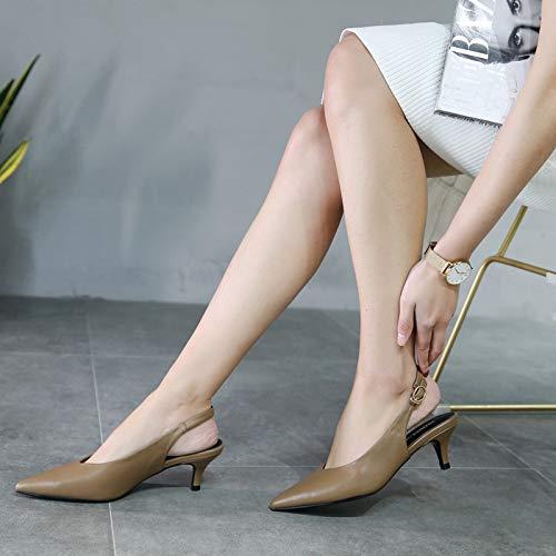 Yukun Zapatos con Punta de tacón Alto Negro 10Cm Femenino, 38, Rojo Black