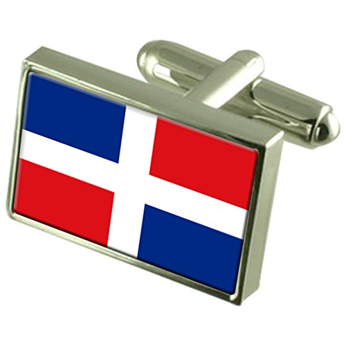 Dominican Republic Sterling Silver Flag Cufflinks by Select Gifts