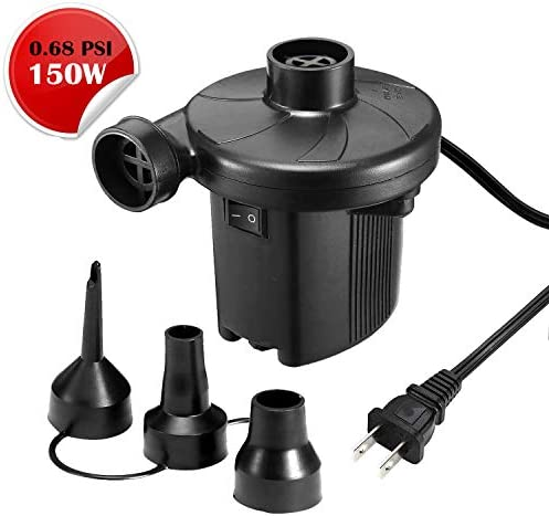 K KUMEED Electric Air Pump Quick-Fill Inflator for Inflatables Camp Bed Mattress Rafts Pool Float Portable Air Pump Inflator Deflator in 110V - Black