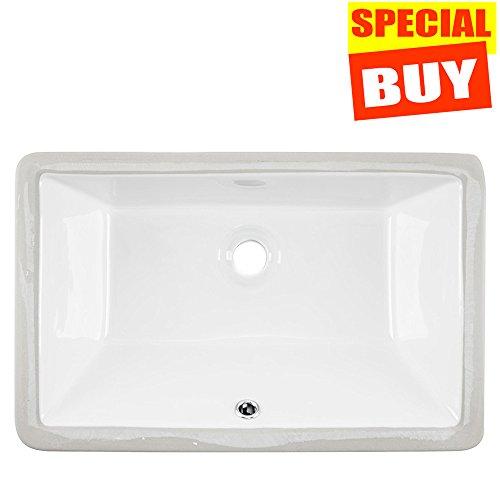 Cheap  Friho 20.9''x13.6''x7.1'' Modern Rectangular Undermount Vanity Sink Porcelain Ceramic Lavatory Bathroom Sink,White..