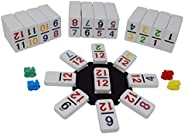 Regal Games Double 12 Colored Dot Dominoes Mexican Train Game Set with Plastic Hub, 91 Numbered Domino Tiles,
