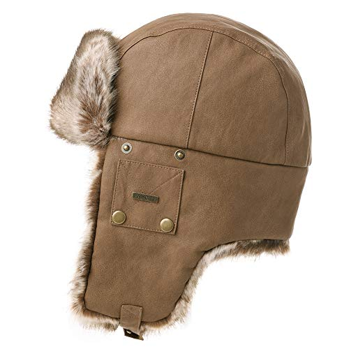 Mens Womens Waterproof Faux Fur Hunting Bomber Trapper Flaps Winter Cap Ushanka Russian Hat Brown (Winter Coat For Men On Sale)