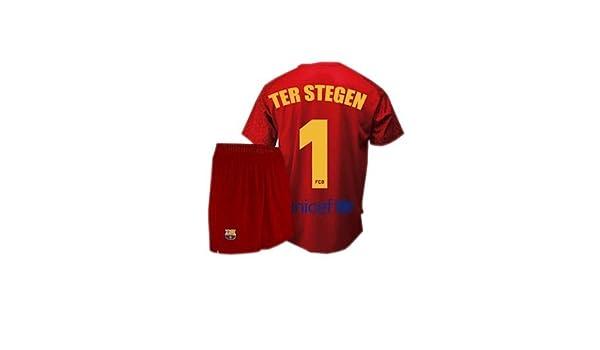 7f89670f84 Conjunto camiseta y pantalón de portero FC. Barcelona 2017-2018 - Replica  Oficial licenciado - Dorsal 1 Ter Stegen - Niño talla 12  Amazon.es  Deportes  y ...