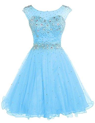 Belle House Women's Short Tulle Beads Homecoming Dress 2019 Prom Gown Sky Blue (Best Dress Websites For Juniors)