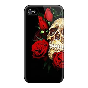 Fashionable IWNDWoT2000CploN Iphone 4/4s Case Cover For Skull And Roses Protective Case