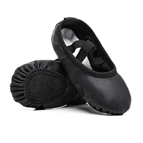 STELLE Girls Ballet Practice Shoes, Yoga Shoes for Dancing(Black, 3M Little Kid)