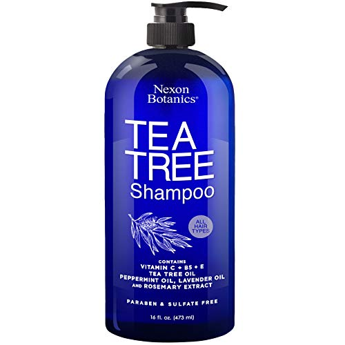 Nexon Botanics Tea Tree Shampoo 16 fl oz - Special Tea Tree Oil Shampoo for Dry, Itchy Scalp, Dandruff - Includes Natural and Pure Lavender, Peppermint, Tea Tree Oils - Sulfate Free and Paraben Free