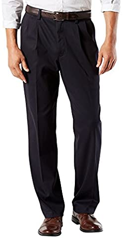 Dockers Men's Easy Khaki Classic Fit Pant-Pleated D3, Navy, 36 29