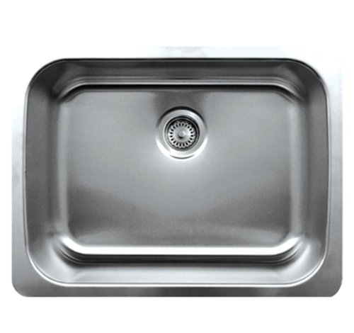 Whitehaus WHNU2519-BSS Noah's Collection 25 1/4-Inch Single Bowl Undermount Sink, Brushed Stainless Steel ()