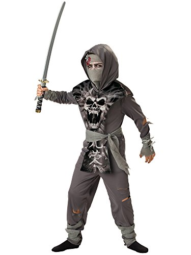 InCharacter Costumes, LLC Boys 8-20 Zombie Ninja Tabard Set, Gray, Medium