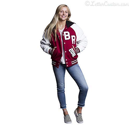 Womens/Girls Varsity Genuine Letter Jacket White Leather & Crimson Red Wool with Zipper Hood USA