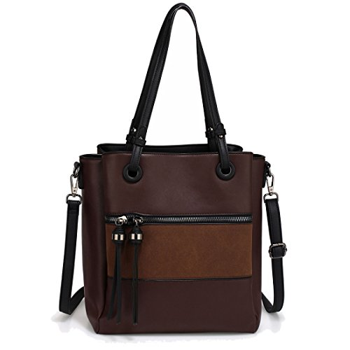 Tassel 50 Work FREE DELIVERY Front Pocket Bag Metal Black UK With Gorgeous SAVE Coffee Shoulder qwBazBt6
