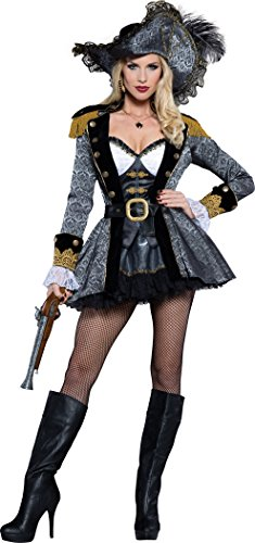 InCharacter Costumes Women's Seven Seas Seductress Pirate Costume, Gold/Grey, Small