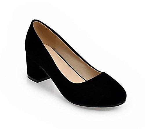 XIE Tacones Altos con la Punta Redonda del Dedo del pie Zapatos Superficiales de la Boca Zapatos Simples del Trabajo Ocasionales y Zapatos del Verano, Blue, 36 BLACK-36
