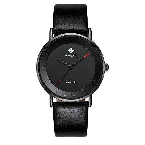 New WWOOR Luxury Men's Watches Men Quartz Watch Relogio Masculino Coupons for Waterproof Wristwatch 8827 (Black)