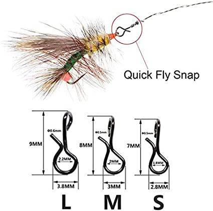 50PCS No-Knot Snaps Fly Fishing Quick Change Connect For Flie Hook /& Lures