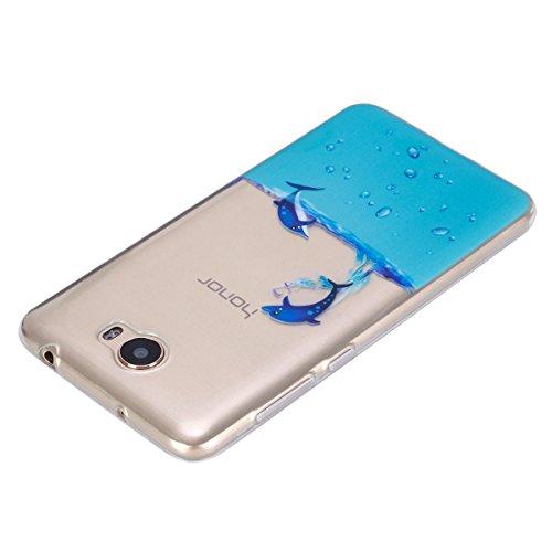 Funda para Huawei Y5 II, Ukayfe Suave Carcasa Caso Parachoques Diseño pintado Patrón para Huawei Y5 II,Funda Case Lujo Premium Bling Caja PC Dura Ultra Fina Cubierta Matt Glitter Protectora Caja Shiny Nadar delfines