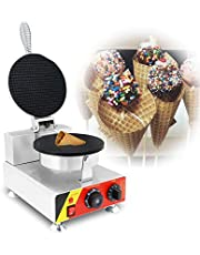 INTBUYING Electric Ice Cream Waffle Cone Maker Egg Roll Waffle Maker Single Head Stainless Steel Baker 110V