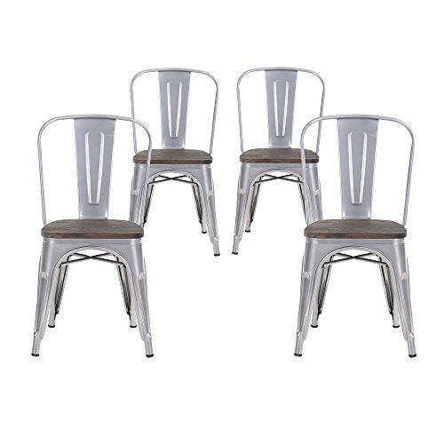 Buschman Set of Four Gray Wooden Seat Tolix-Style Metal Indoor/Outdoor Stackable Chairs with Back by Buschman