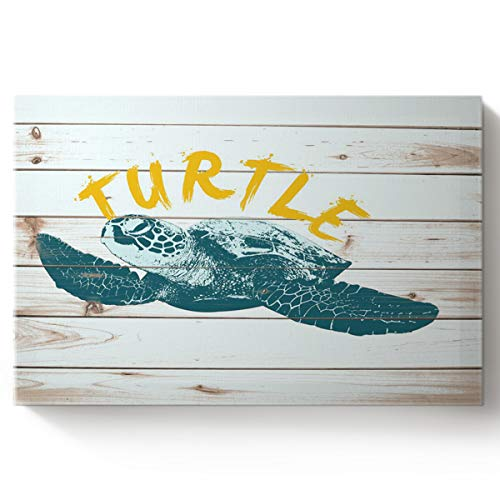 (Arts Language DIY Oil Paintings Paint by Numbers Kit with Brushes for Adults/Kids Beginner Turtle Graffiti on Vintage Wood Texture Background Acrylic Paints on Canvas Wooden Framed Wall Art 16x20in)