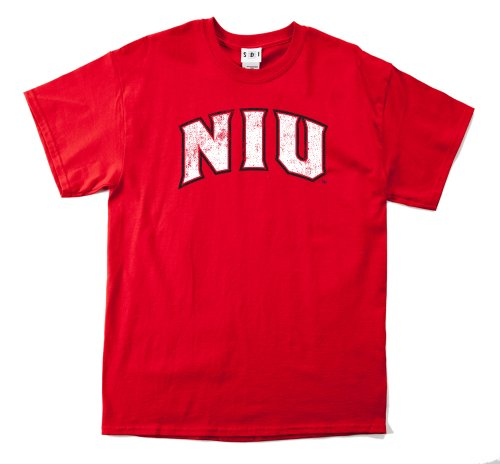 NCAA Northern Illinois Huskies 100-Percent Pre-Shrunk Vintage Arch Short Sleeve Tee, X-Large, Red