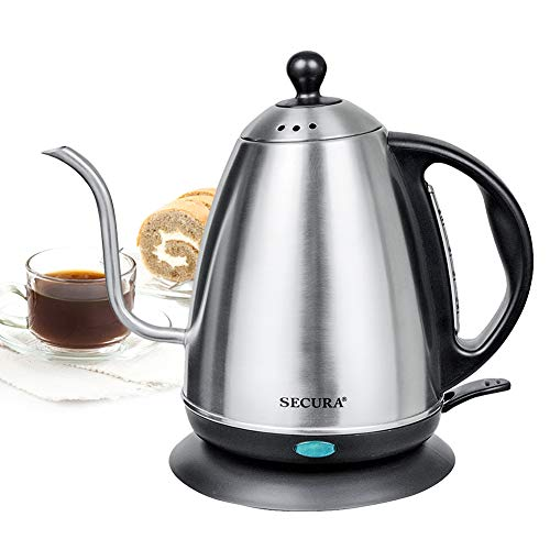 (Secura 1.2 Liter Stainless Steel Gooseneck Electric Water Kettle for Pour Over Coffee and Tea with 1000 Watts of Power)