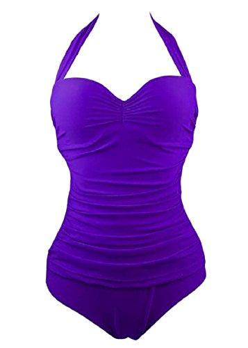 Winwinus Women Conservatism Ruched High Neck Pure Colour 1 Piece Swimsuit Purple XL