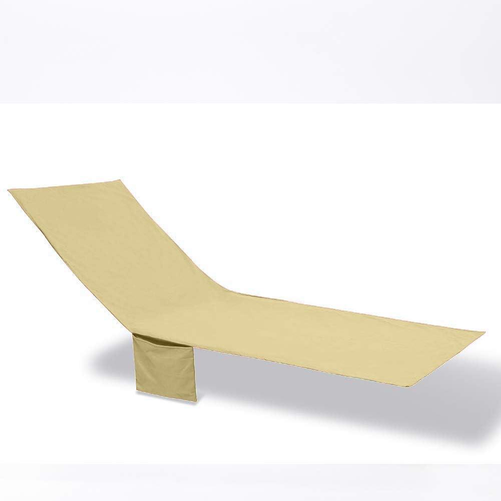 QCWN tumbonas y sillones reclinables 83.5 Pulgadas Beige Toallas de Playa largas Fundas para sillas de sal/ón con un Bolsillo Lateral para Piscina Funda de algod/ón para Silla de Piscina