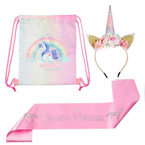 HELLO LITTLE MAGICORN [New 2019 Premium Unicorn Birthday Girl Set - Gold, Pink Glitter Unicorn Headband, Pink Satin Sash, Drawstring Party Backpack Bag for Girls - Birthday Unicorn Party Supplies, FA