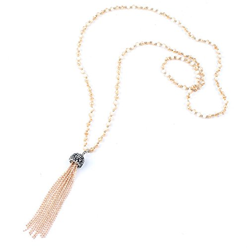 FM FM42 Rose-Gold-Tone Faceted Crystal Bead Long Necklace with Tassel ZN1056