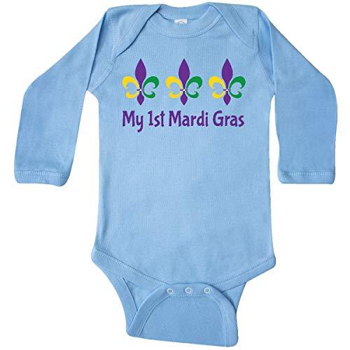 inktastic My 1st Mardi Gras Fleur De Long Sleeve Creeper 12 Months Light Blue