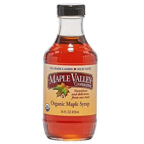 Maple Valley 16 oz. Organic Maple Syrup - Grade A Amber Rich in Glass Decanter