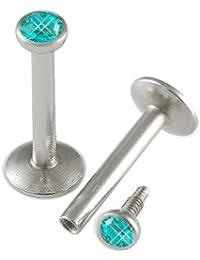 16g 5/16 Inch Surgical Steel Balls 2mm Crystal Internal Blue zircon Piercing Set of ALRI