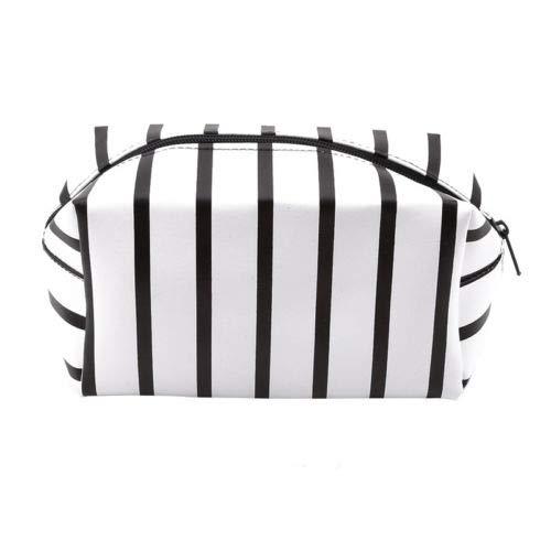 Women Stripe Travel Cosmetic Makeup Storage Bag Purse Pencil Pen Case Bag Case (Color - Black)
