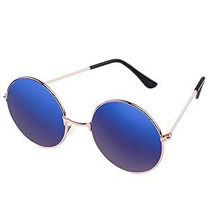 R REIFENG Hippie Shades Hippy 60S John Lennon Style Vintage Round Sunglasses UV400 (gold, Blue Ice)