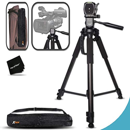Durable Pro Grade 72 inch Full size Tripod with 3 way Pan-Head, Bubble level indicator, 3 Section Aluminum alloy lock in legs for Sony FDR-AX1, FDR-AX100, NEX-EA50UH, NEX-FS700U, NEX-FS100U, HVR-Z7U, HXR-NX70U, HVR-Z5U, HXR-NX3, PMW-EX3, PMW-EX1, PMW-F3L, PMW-300, PMW-300K1, PMW-100, PXW-Z100, HXR-MC2000U, HXR-MC1500p, HXR-MC1000p, HXR-MC50U, HXR-NX5U, HXR-NX3, HXR-NX70U, HXR-NX30U, HDR-AX2000, HD