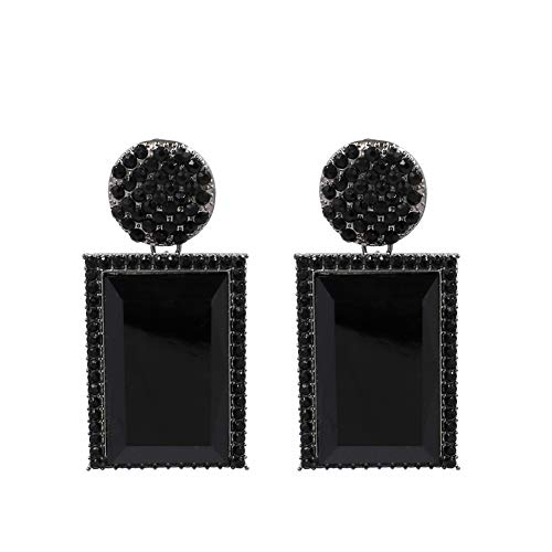 - Black Clear Rhinestone Rectangle Pendant Drop Statement Earrings KELMALL COLLECTION