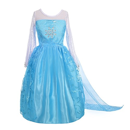 Dressy Daisy Girls' Princess Elsa Costume Fancy Party Dresses w/Train Size 10 -