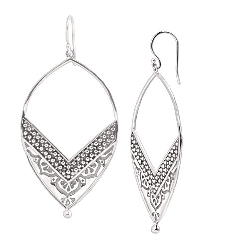 Silpada 'Ornate' Open Drop Earrings in Sterling Silver (Gold Hoop Etched 14k Earrings)