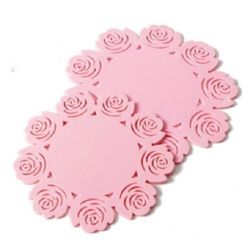 UDTEE 3PCS Fashionable And Lovely Hollow-Out Rose Flower Pattern,Essential Kitchen Cooking & Baking Gadget,Non Slip Heat Resistant Silicone Pot Holder/Hot Pads/Mats,1PCS Large+1PCS Medium+1PCS Small Size, Pink Color