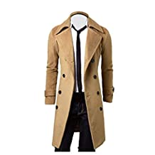 HTHJSCO Men's Trench Coat Winter Long Jacket Double Breasted Overcoat