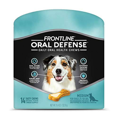 FRONTLINE Oral Defense Daily Oral Health Chews for Medium Dogs (25-50 lb) 14 Chews