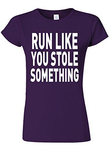 バッジ完璧打倒Run Like You Stole Something Gym Novelty Purple Women T Shirt Top-L